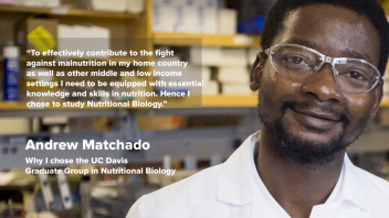 "Andrew Matchado - Why I chose GGNB - ""To effectively contribute to the fight against malnutrition in my home country as well as other middle and low income settings I need to be equipped with essential knowledge and skills in nutrition.  Hence my choice to study Nutritional Biology."""